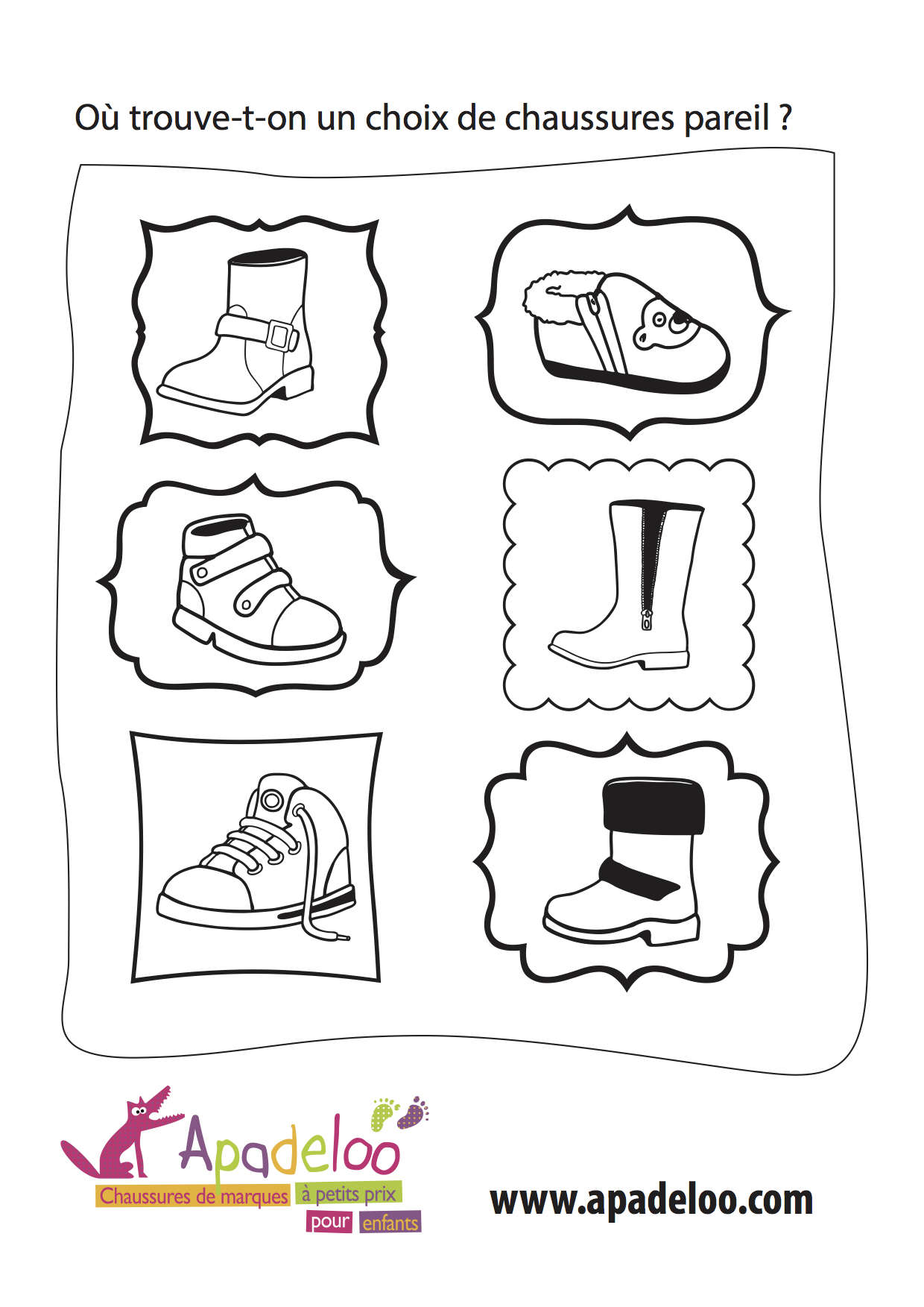 Coloriage Apadeloo Chaussures
